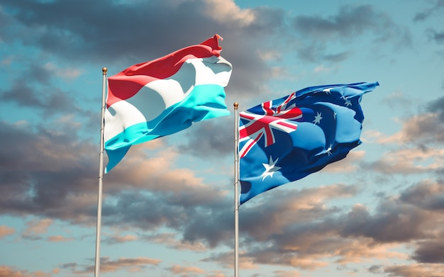 Beaux drapeaux nationaux du luxembourg et de l'australie ensemble
