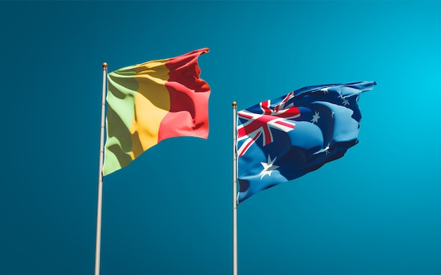 Beaux drapeaux nationaux du mali et de l'australie ensemble