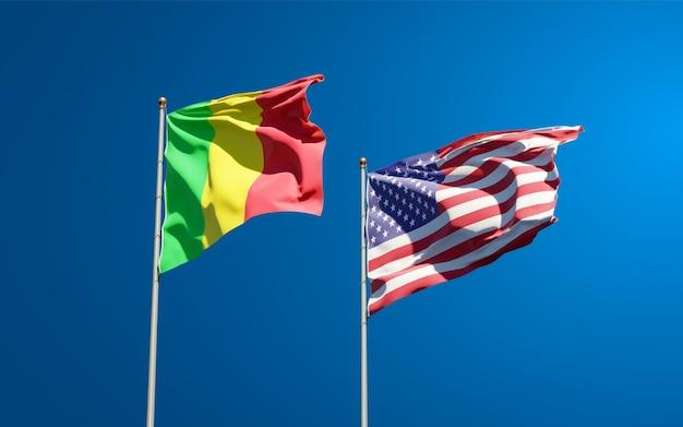 Beaux drapeaux nationaux du mali et des etats-unis ensemble