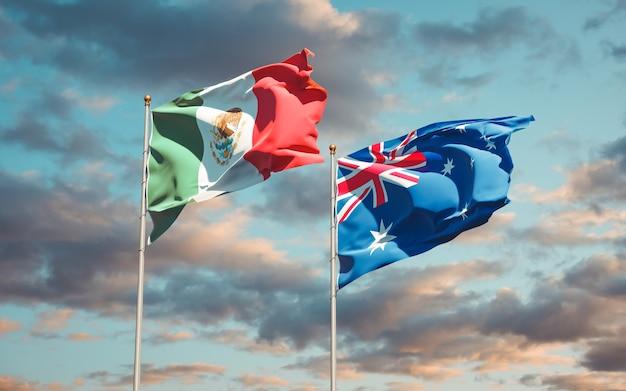 Beaux drapeaux nationaux du mexique et de l'australie ensemble