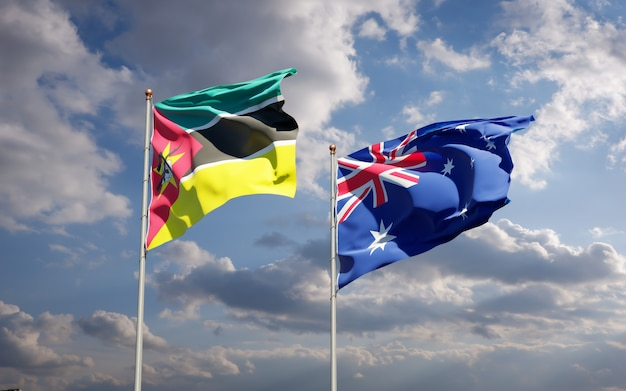 Beaux drapeaux nationaux du mozambique et de l'australie ensemble