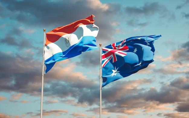 Beaux drapeaux nationaux du paraguay et de l'australie ensemble