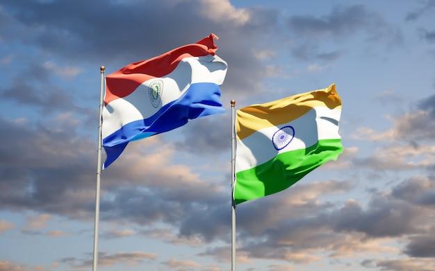 Beaux drapeaux nationaux du paraguay et de l'inde ensemble