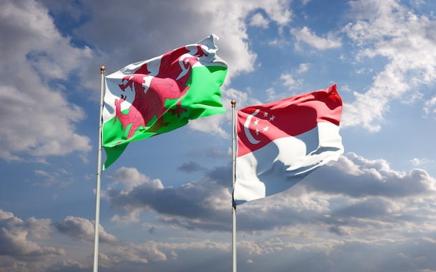 Beaux drapeaux nationaux du pays de galles et de singapour ensemble