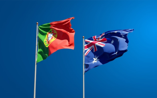Beaux drapeaux nationaux du portugal et de l'australie ensemble