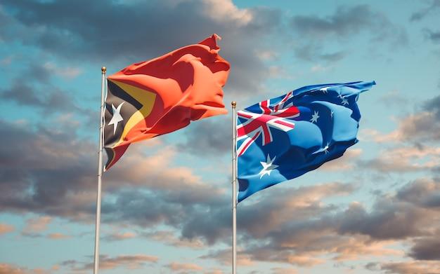 Beaux drapeaux nationaux du timor oriental et de l'australie ensemble