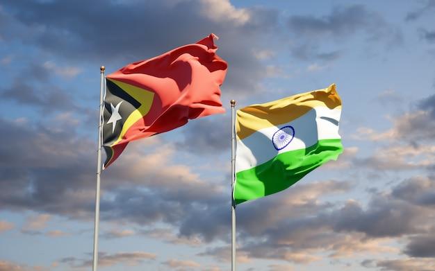 Beaux drapeaux nationaux du timor oriental et de l'inde ensemble