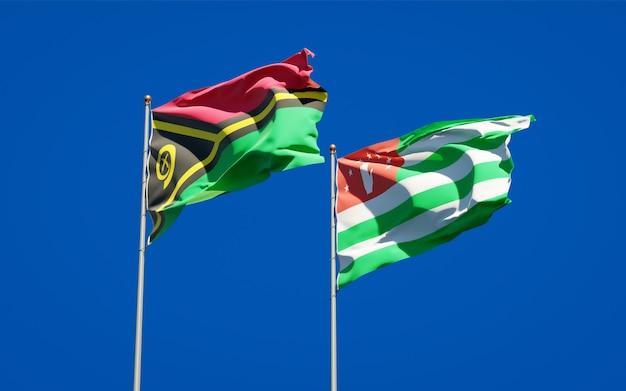 Beaux drapeaux nationaux du vanuatu et de l'abkhazie ensemble