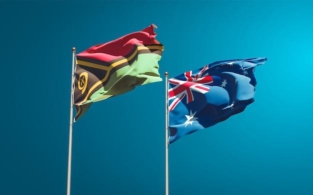 Beaux drapeaux nationaux du vanuatu et de l'australie ensemble