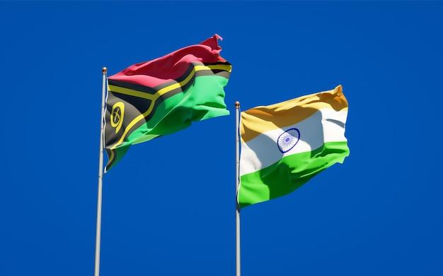 Beaux drapeaux nationaux du vanuatu et de l'inde ensemble