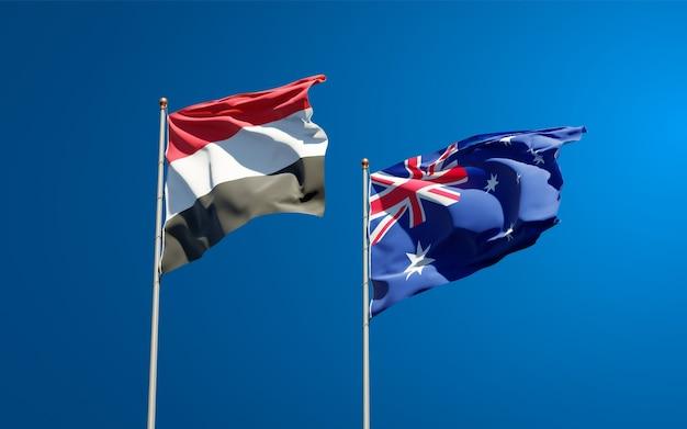 Beaux drapeaux nationaux du yémen et de l'australie ensemble