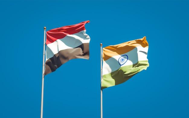 Beaux drapeaux nationaux du yémen et de l'inde ensemble