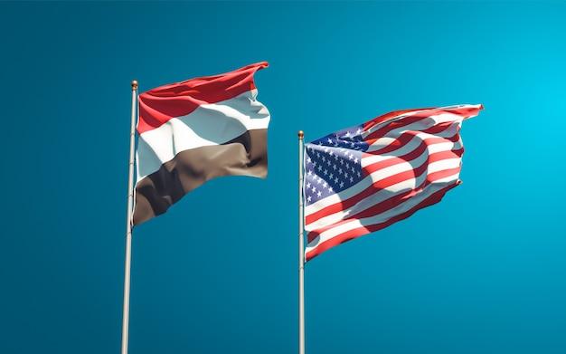 Beaux drapeaux nationaux du yémen et des usa ensemble