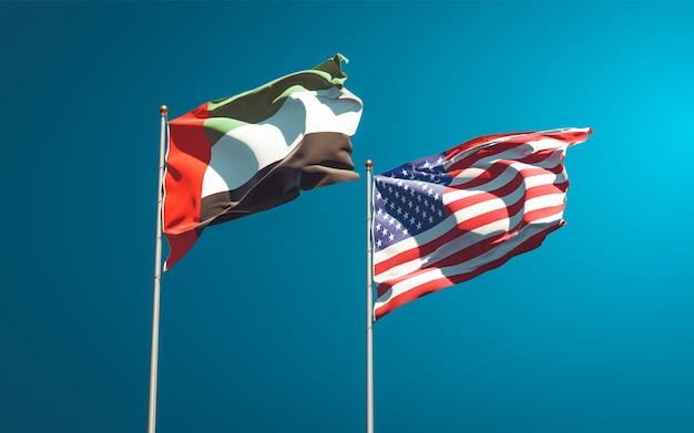 Beaux drapeaux nationaux des émirats arabes unis, émirats arabes unis et usa ensemble