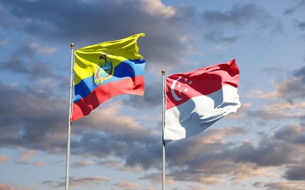 Beaux drapeaux nationaux de l'équateur et de singapour ensemble