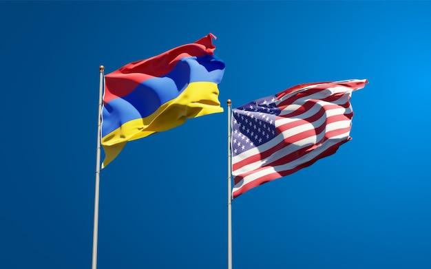 Beaux drapeaux nationaux des états-unis et de l'arménie ensemble