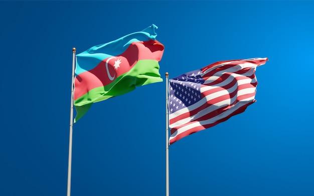 Beaux drapeaux nationaux des états-unis et de l'azerbaïdjan et barbuda ensemble