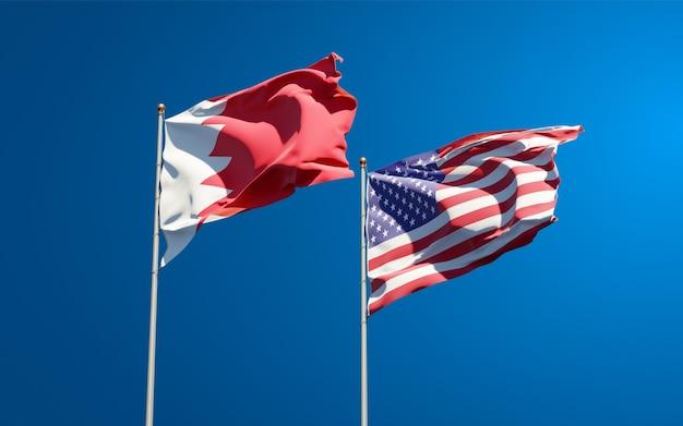 Beaux drapeaux nationaux des états-unis et de bahreïn ensemble
