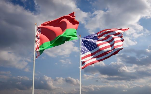 Beaux drapeaux nationaux des états-unis et de la biélorussie ensemble