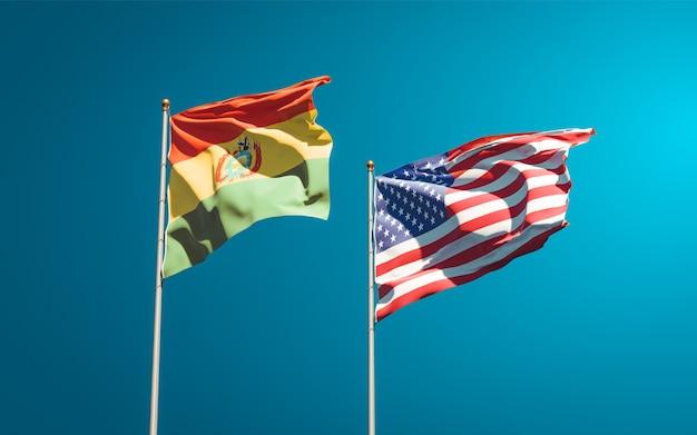 Beaux drapeaux nationaux des états-unis et de la bolivie ensemble