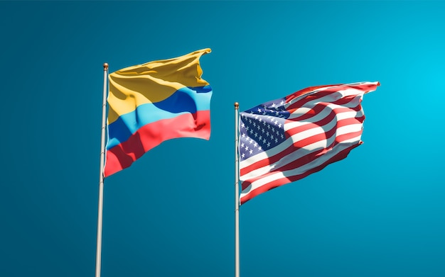 Beaux drapeaux nationaux des états-unis et de la colombie ensemble