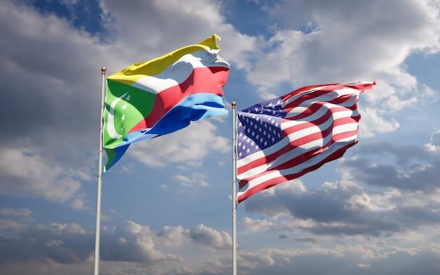 Beaux drapeaux nationaux des états-unis et des comores ensemble