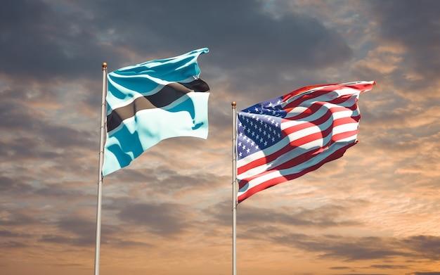 Beaux drapeaux nationaux des etats-unis et du botswana ensemble