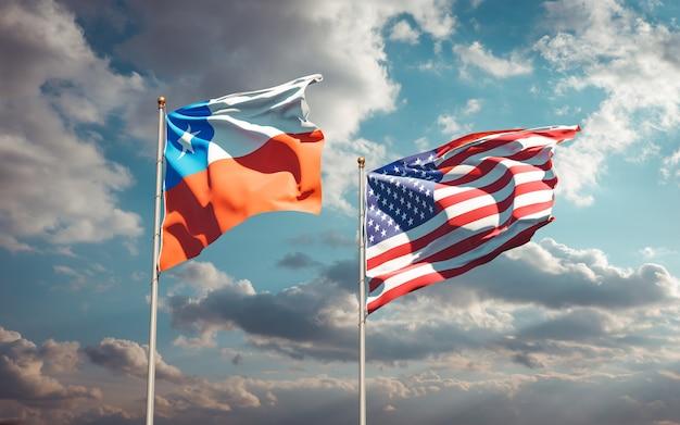 Beaux drapeaux nationaux des états-unis et du chili ensemble