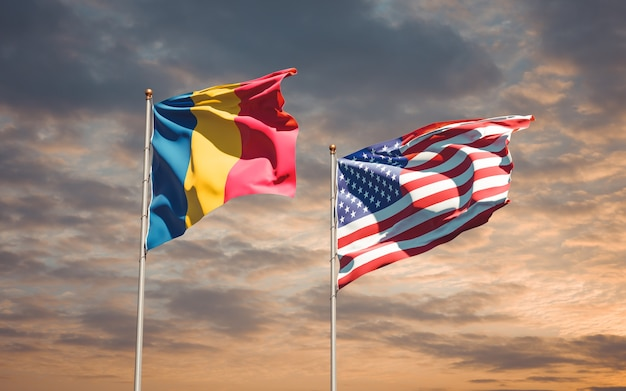 Beaux drapeaux nationaux des etats-unis et du tchad ensemble