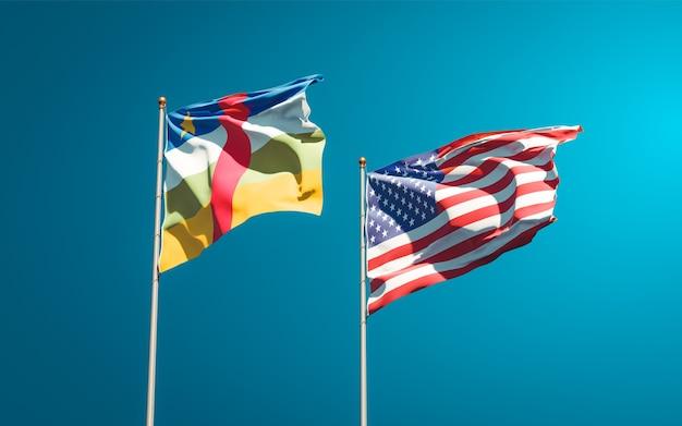 Beaux drapeaux nationaux des états-unis et de la rca république centrafricaine ensemble