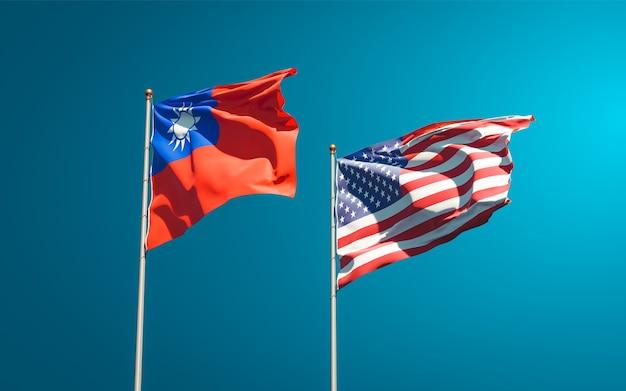 Beaux drapeaux nationaux des états-unis et de taiwan ensemble
