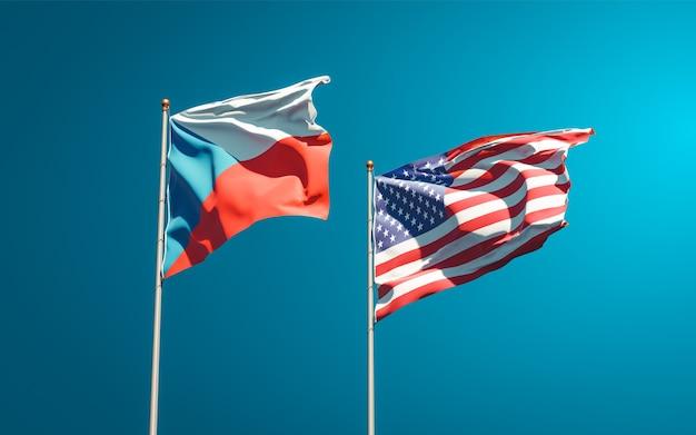 Beaux drapeaux nationaux des états-unis et tchèque ensemble