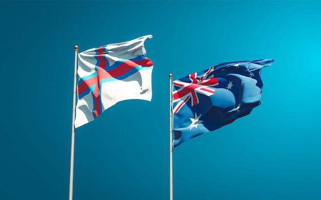 Beaux drapeaux nationaux des îles féroé et de l'australie ensemble