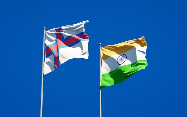 Beaux drapeaux nationaux des îles féroé et de l'inde ensemble