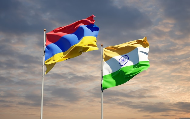 Beaux drapeaux nationaux de l'inde et de l'arménie ensemble