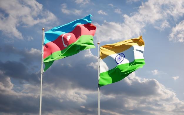 Beaux drapeaux nationaux de l'inde et de l'azerbaïdjan et barbuda ensemble