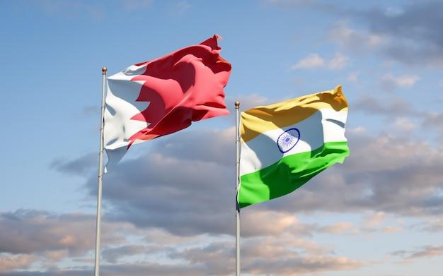 Beaux drapeaux nationaux de l'inde et de bahreïn ensemble