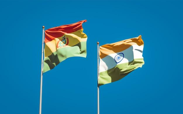 Beaux drapeaux nationaux de l'inde et de la bolivie ensemble