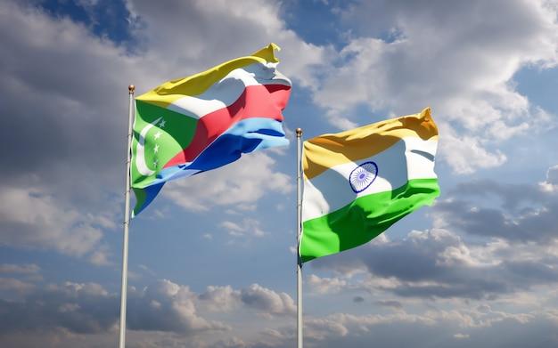 Beaux drapeaux nationaux de l'inde et des comores ensemble