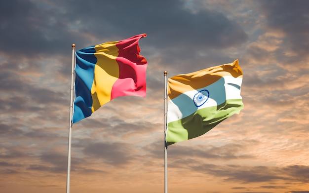 Beaux drapeaux nationaux de l'inde et du tchad ensemble