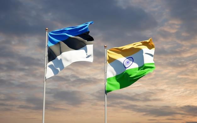 Beaux drapeaux nationaux de l'inde et de l'estonie ensemble