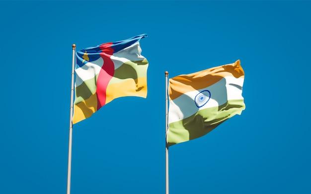Beaux drapeaux nationaux de l'inde et de la rca république centrafricaine ensemble