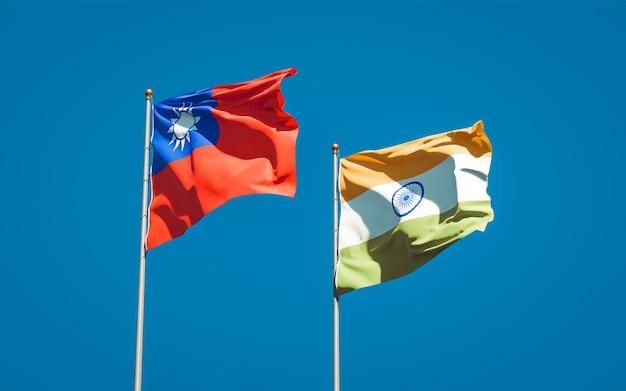 Beaux drapeaux nationaux de l'inde et de taiwan ensemble