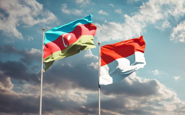 Beaux drapeaux nationaux de l'indonésie et de l'azerbaïdjan