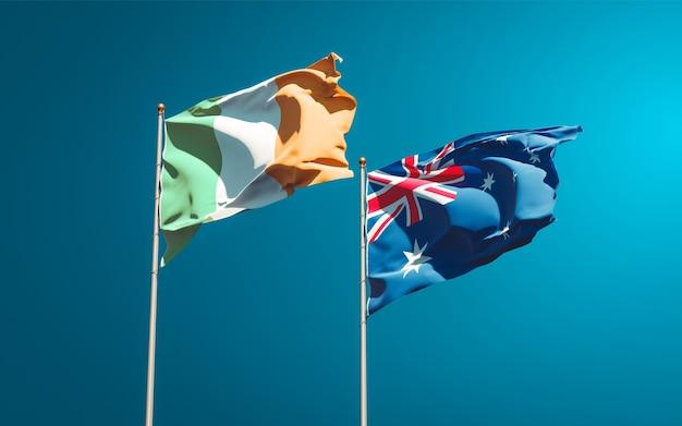 Beaux drapeaux nationaux d'irlande et d'australie ensemble