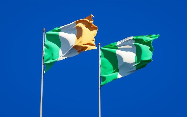 Beaux drapeaux nationaux de l'irlande et du nigéria ensemble sur ciel bleu