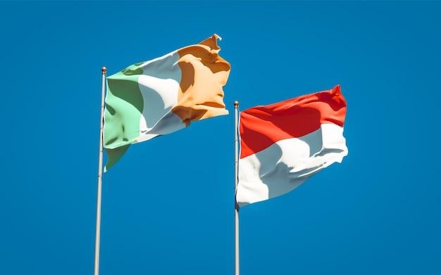 Beaux drapeaux nationaux de l'irlande et de l'indonésie ensemble sur ciel bleu