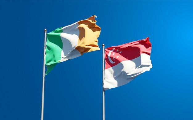 Beaux drapeaux nationaux d'irlande et de singapour ensemble