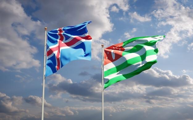 Beaux drapeaux nationaux de l'islande et de l'abkhazie ensemble