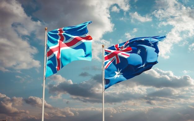 Beaux drapeaux nationaux de l'islande et de l'australie ensemble